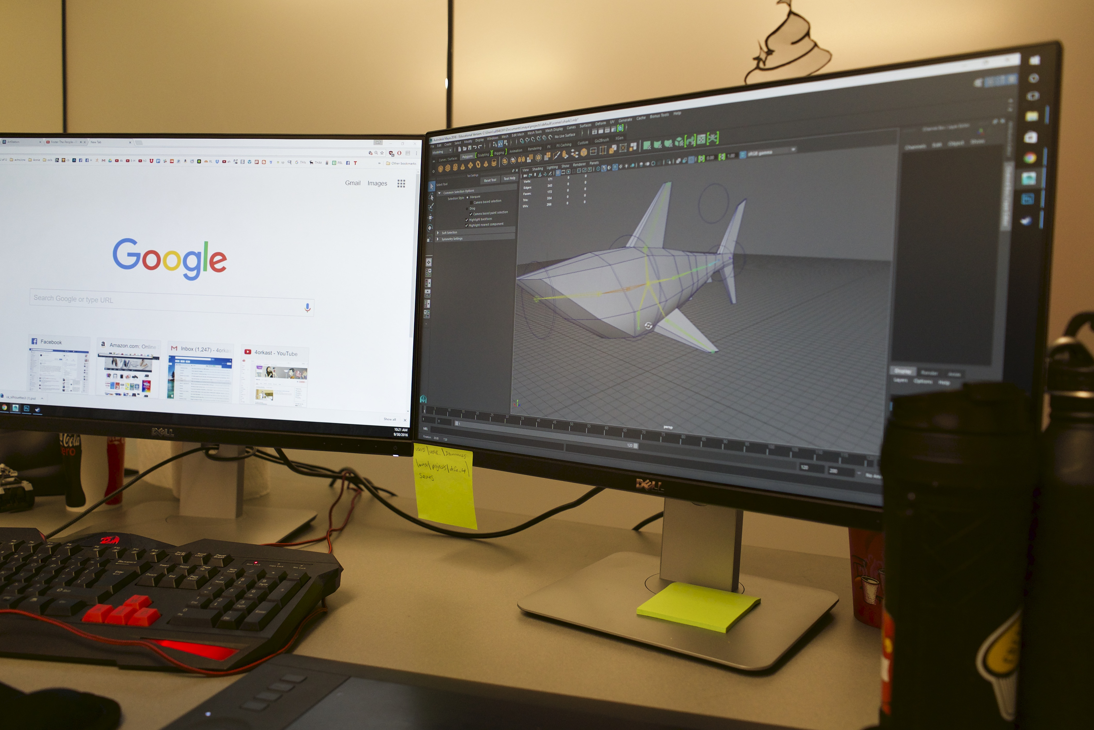 A computer monitor displays a graphic model of a shark to be used in Choreografish.