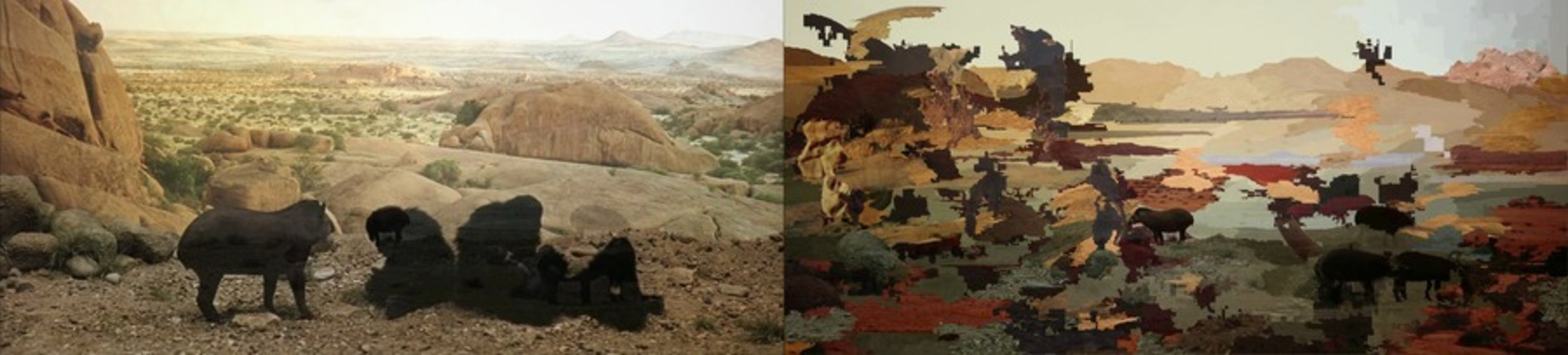 The image is clearly divided down the middle, creating a left side and a right side. Left side: a black pig-like animal near a group of seated and reclining black apes. They are in a rocky, sparsely vegetated landscape that extends to the horizon. Right side: splotches of color that do not clearly represent any scene. However, there is a horizon that echoes that of the left-side image.