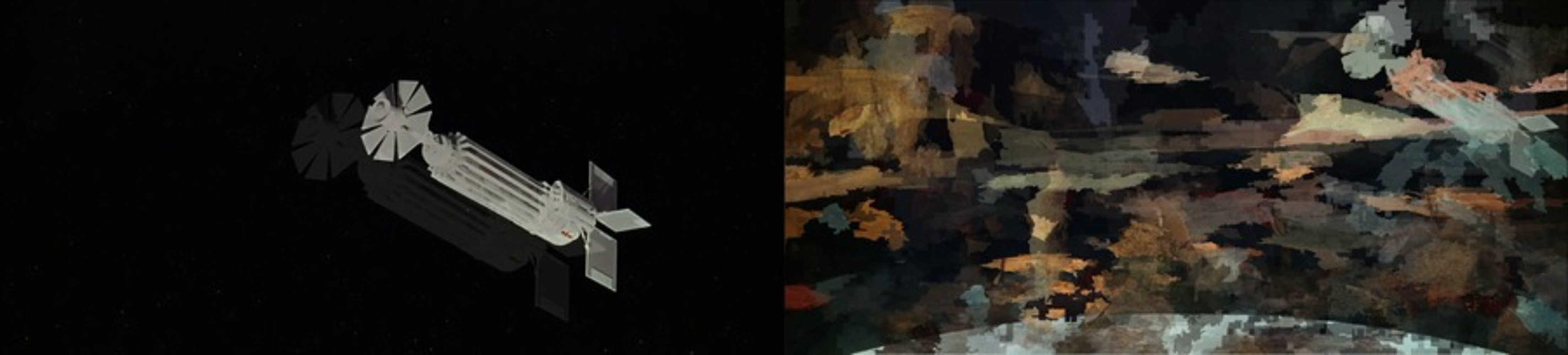The image is clearly divided down the middle, creating a left side and a right side. Left side: space ship in an empty black void. Right side: more restrained splotches of color that do not clearly represent specific scenes, but where warm colors of landscape and cool colors of space can be differentiated. The outline of a space-ship (same as left) and planet's surface, as seen from space, are intelligible.